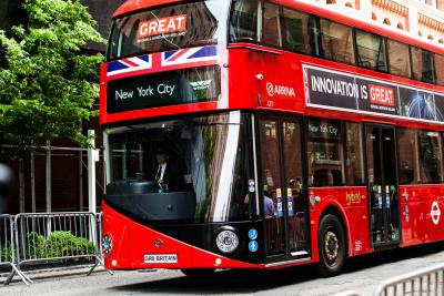 The iconic red London bus was on tour in New York to promote Great Britain